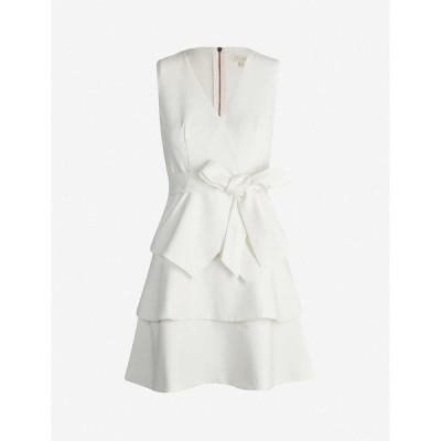テッドベーカー TED BAKER レディース パーティードレス Aライン ワンピース・ドレス Reinah tiered stretch-twill mini dress IVORY