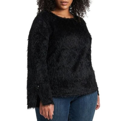 ヴィンスカムート レディース ニット&セーター アウター Plus Size Long Sleeve Split Cuff Eyelash Fringe Knit Top Rich Black