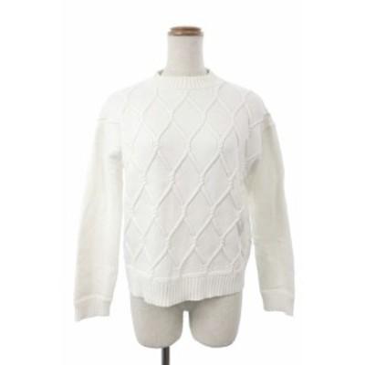 【中古】ユナイテッドアローズ UNITED ARROWS セーター ニット ハイネック ボトルネック 総柄 白 ホワイト /KS レディース