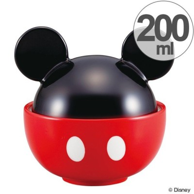 お茶碗 ミッキーマウス フタ付 200ml 磁器 食器 キャラクター ( 食洗機対応 どんぶり 電子レンジ対応 茶碗 飯椀 ご飯茶碗 椀 )