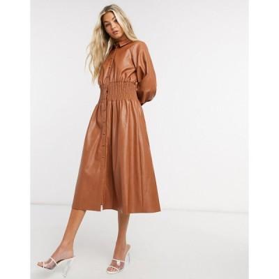 エイソス ミディドレス レディース ASOS DESIGN leather look midi shirt dress with shirred waist in brown エイソス ASOS ブラウン 茶