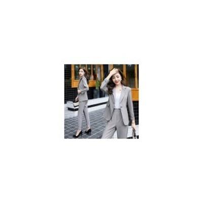 卸売可2019新作パンツスーツチェックスーツセットアップ2点セットジャケットパンツフォーマルスーツ新作秋冬かわいい秋物冬物レディ