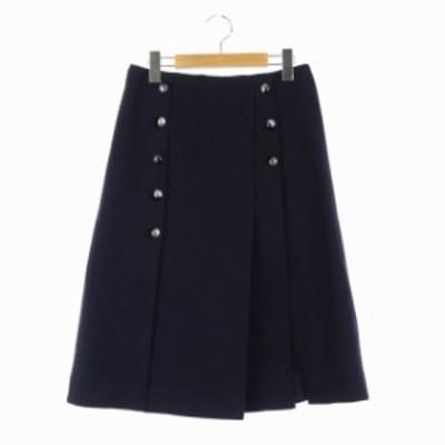 【中古】クロエ CHLOE フロントボタン ボックスプリーツスカート フレア ミモレ丈 36 紺 ネイビー レディース