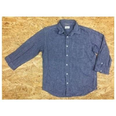 GLOBAL WORK グローバルワーク Mサイズ メンズ シャツ 半端袖 胸ポケット付き レギュラーカラー 無地 ラウンドテール 綿×麻 ネイビー 紺