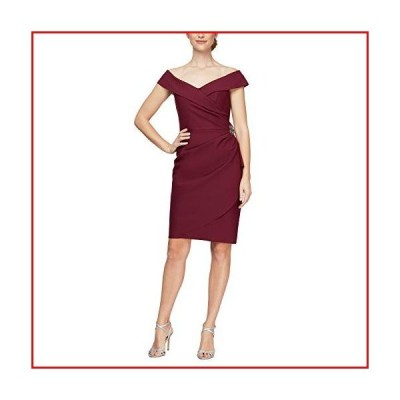 【新品】Alex Evenings Women's Slimming Short Off-The-Shoulder Sheath Dress, Wine, 2【並行輸入品】