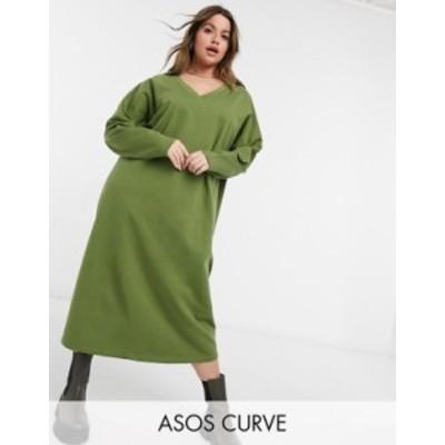 エイソス レディース ワンピース トップス ASOS DESIGN Curve sweater midi dress with v neck in khaki Khaki