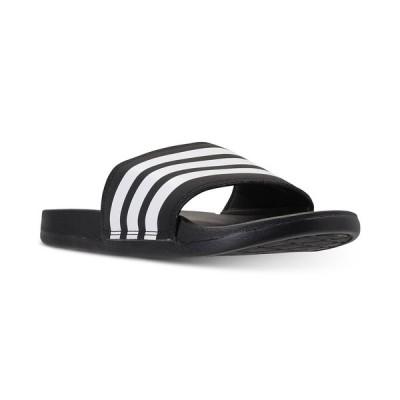 アディダス スニーカー シューズ レディース Women's adilette Cloudfoam Plus Slide Sandals from Finish Line BLACK/WHITE