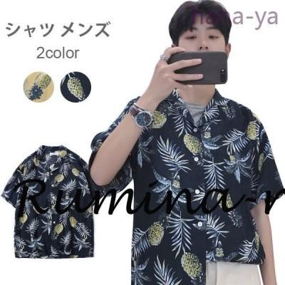 シャツメンズ半袖シャツプリントシャツ・カジュアルシャツボタンシャツゆるシャツライトアウタートップス夏服夏物メンズファッション