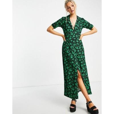 エイソス ミディドレス レディース ASOS DESIGN ultimate midi tea dress in black and green floral print エイソス ASOS マルチカラー
