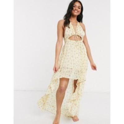 エイソス レディース ワンピース トップス ASOS DESIGN high low hem tie front beach dress in yellow ditsy floral print Yellow prair