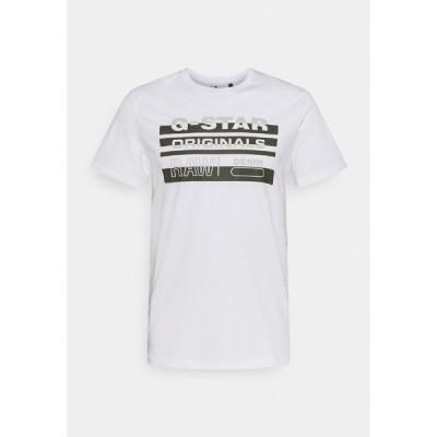 ジースター Tシャツ メンズ トップス ORIGINALS STRIPE LOGO - Print T-shirt - white