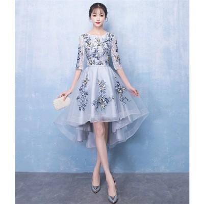 カラードレス パーティードレス ショートドレス ワンピース おしゃれ ウェディングドレス お呼ばれ セクシー 高級ドレス ワンピ ミニドレス 結婚式[グレー]