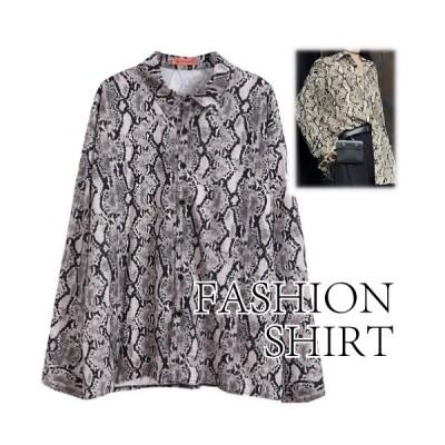 ファッションシャツ トップス 長袖 幾何学模様 個性的 きれいめ かっこいい ざっくり レディース ブラック