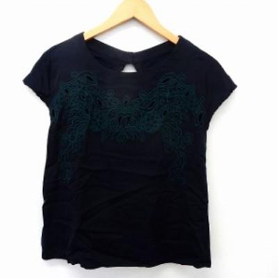 【中古】レディラックルカ LADY LUCK LUCA カットソー Tシャツ 半袖 刺繍レース フレンチスリーブ ネイビー /ST37