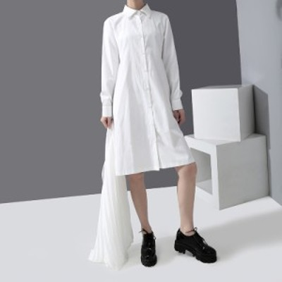 モード系 ツーピース シャツワンピ 膝下丈 シフォンスカート 大人きれいめ フェミニン スタイリッシュ 20代 30代
