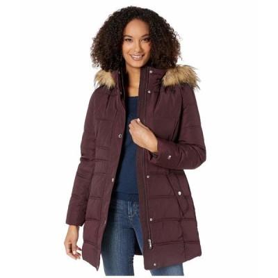 トミー ヒルフィガー コート アウター レディース Mid Length Hooded Puffer Jacket with Faux Fur trimmed Hood Aubergine