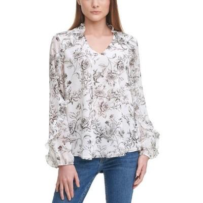 カルバンクライン カットソー トップス レディース Printed Ruffle-Sleeve Top Black/White Floral