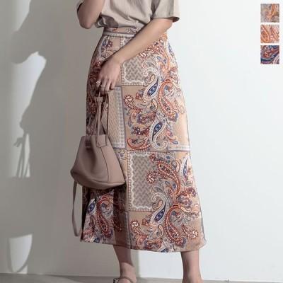 ナロースカート レディース ロングスカート ペイズリー柄スカート 総柄スカート スカート Iラインシルエット