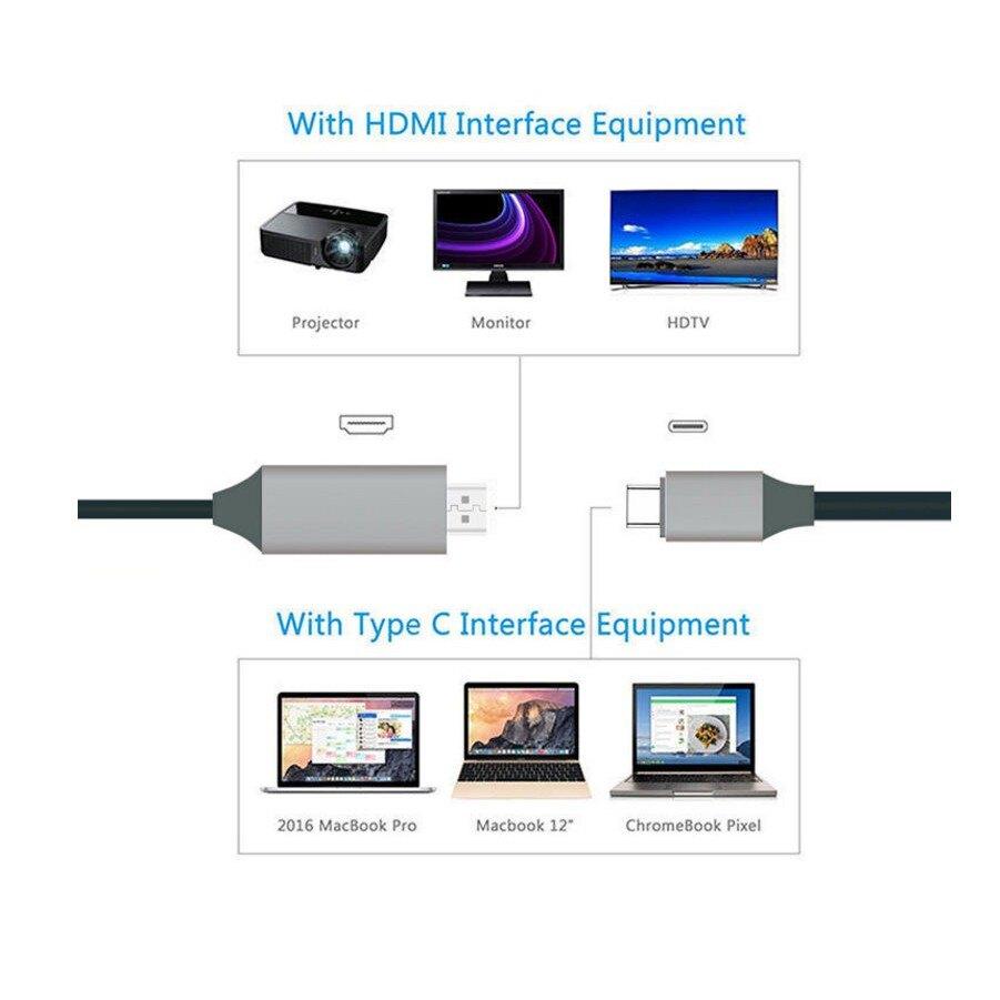 微解封 Type-c轉HDMI轉換線 1.8米同屏線 高清轉接線4K typec轉hdmi轉換器【HY48】