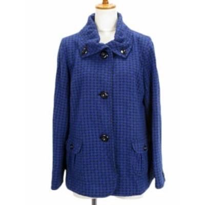【中古】未使用品 カンサイビス KANSAI BIS ジャケット コート ドット ジャガード ウール混 13 青 黒 レディース