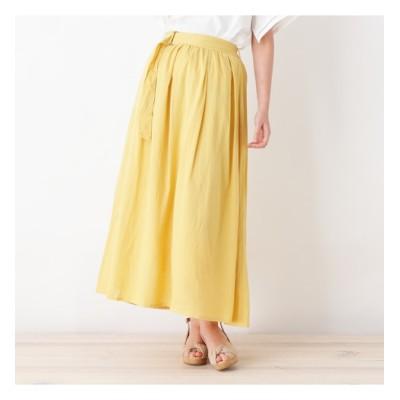 【ピンクアドベ/pink adobe】 レーヨン麻ベルト付きマキシスカート