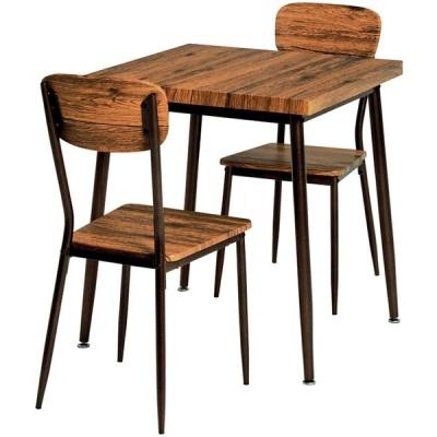 ダイニングセット ダイニング 3点セット テーブル チェア スチール脚 木製 幅70cm 2人掛け 2人用 テーブル 食卓 机 正方形 北欧