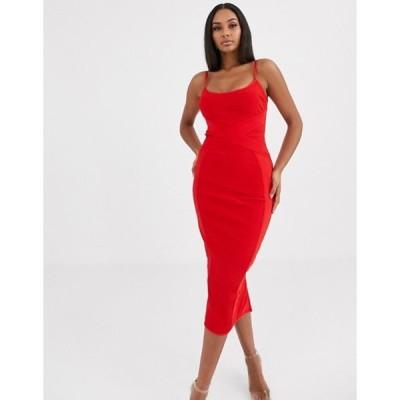 ミスガイデッド レディース ワンピース トップス Missguided cross front bandage cami midaxi dress in red