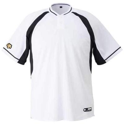 デサント 2ボタンベースボールシャツ(レギュラーシルエット) Sホワイト×ブラック DB-103B-SWBK <2020CON>