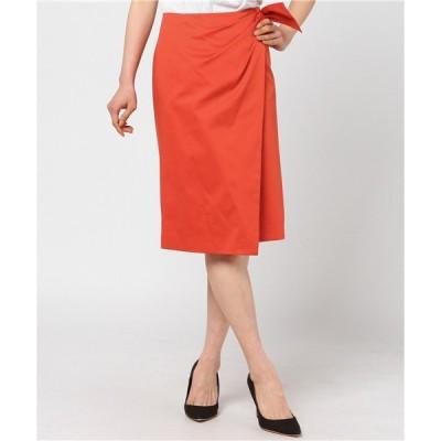 スカート ソフトサテンラップスカート・