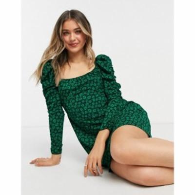 トップショップ Topshop レディース ワンピース ワンピース・ドレス Ruched Sleeve Tea Dress In Green Animal Print ブラック