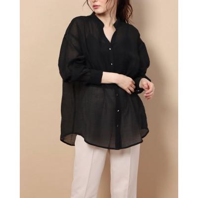 ランダ RANDA バンドカラーシアーシャツ (BLACK)