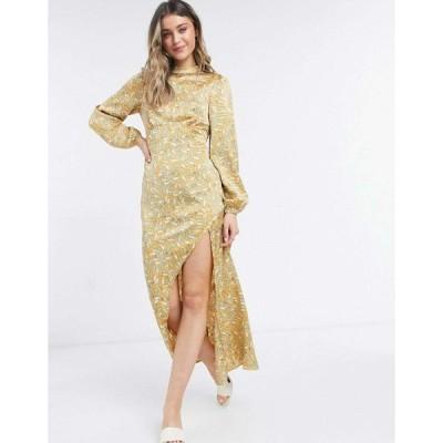 ネバーフリードレス マキシドレス レディース Never Fully Dressed long sleeve midaxi dress in multi leaf print エイソス ASOS マルチカラー