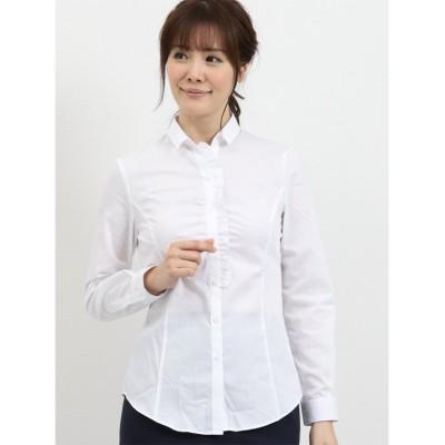 (TAKA-Q/タカキュー)形態安定レギュラーカラースキッパー長袖ギャザーフリルシャツ/レディース ホワイト