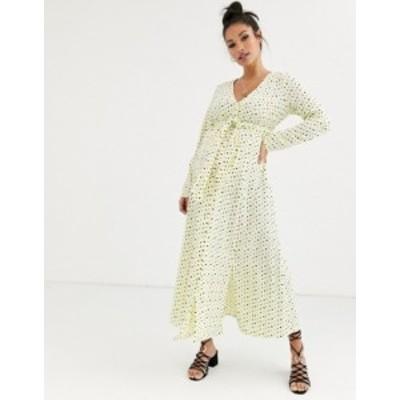 エイソス レディース ワンピース トップス ASOS DESIGN Maternity midi dress with buckle belt in polka dot Yellow base spot