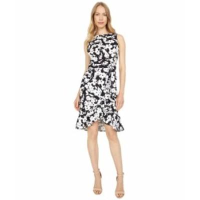 カルバンクライン レディース ワンピース トップス Floral Print Dress with Self Tie Belt Black/Cream