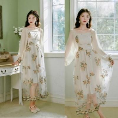 ロングドレス パーティードレス 結婚式 二次会 お呼ばれ ミモレ丈 ワンピース ドレス 20代 30代 40代 花柄 透け感 バルーン袖