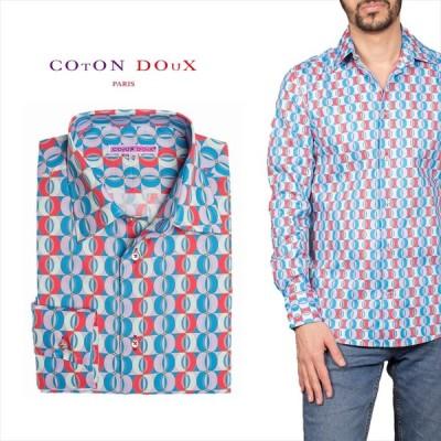 柄シャツ カジュアルシャツ ドレスシャツ メンズ 長袖  おしゃれ レトロ 可愛い 派手 幾何学模様 アート  CotonDoux コトンドゥ m91ad1620roundgeo