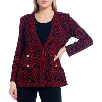 ミンウォン レディース ジャケット&ブルゾン アウター Long Sleeve Zebra Print Button Detail Jacket Firecracker