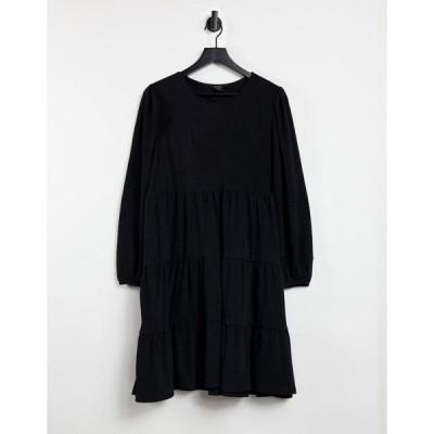 モンキ ミニドレス レディース Monki Mino long sleeve tiered mini smock dressin black エイソス ASOS ブラック 黒