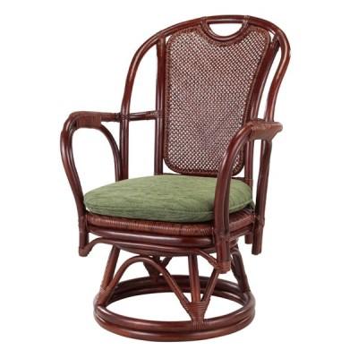 籐 回転座椅子 クッション付 アジロ編座面 シィーベルチェアー 座面高38cm ( ラタンチェア ラタン チェア 椅子 チェアー イス いす )