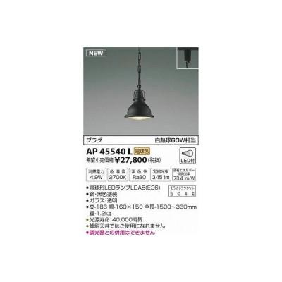 コイズミ照明 AP45540L ペンダント プラグタイプ 白熱球60W相当 LED付 電球色 黒色塗装