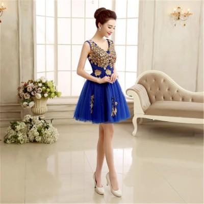 ショートドレス カラードレス ウェディングドレス 結婚式 パーティードレス 大きいサイズ ミニドレス ワンピース 披露宴 二次会 発表会 入学式[ブルー]