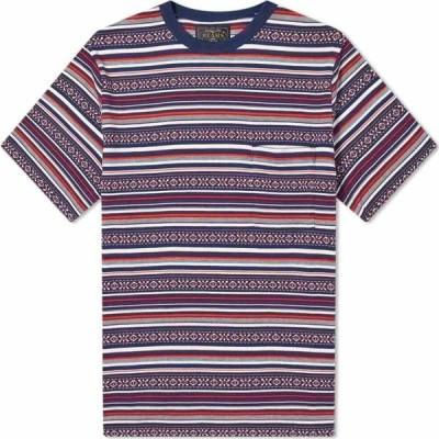ビームス プラス Beams Plus メンズ Tシャツ ポケット トップス Jacquard Border Pocket Tee Navy