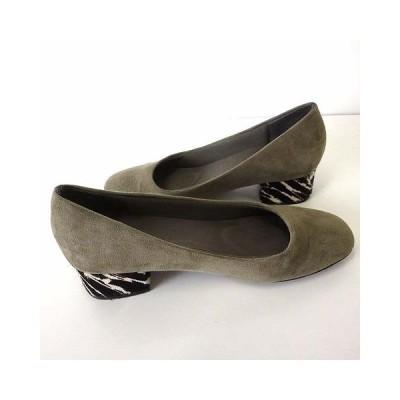 【中古】ランダ RANDA パンプス スエード アーモンドトゥ ハラコヒール 23.5 カーキ 黒 ブラック 白 くつ 靴 シューズ レディース 【ベクトル 古着】