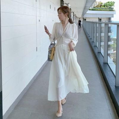 ドレス ロングドレス ワンピース ミモレ丈 袖あり 長袖 シフォン 透け感 無地 ハイウエスト フェミニン パーティ