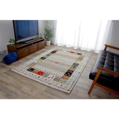 トルコ製 ウィルトン織カーペット ギャッペ調 ラグ  2348229  『イビサ』アイボリー 約133×190cm