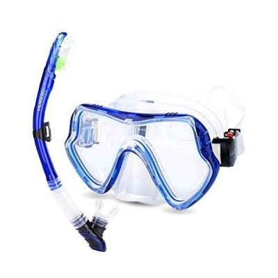 VILISUN シュノーケルセット シュノーケリング 2点セット スノーケル マスク ダイビングマスク 潜水メガネ 曇り止め 強化ガラス 防