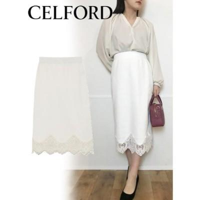 40%OFF CELFORD  セルフォード レース切替ニットタイトスカート  20春夏 CWNS201055 タイトスカート