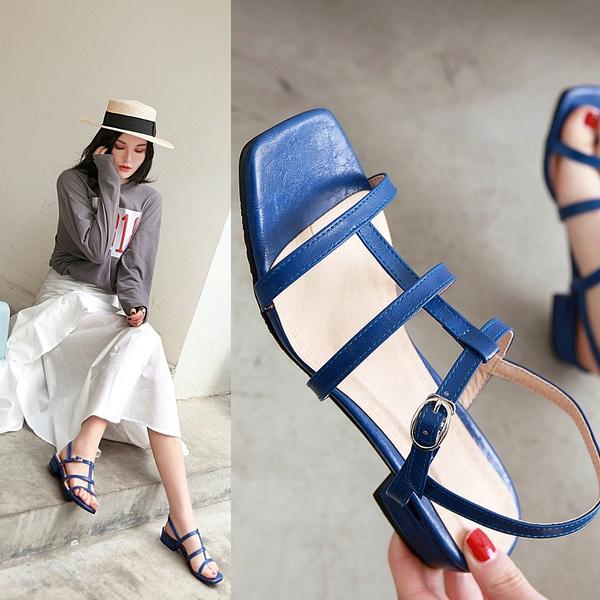 大尺碼女鞋41-48 凱莉密碼 時尚方頭氣質網帶羅馬平底涼鞋2.5cm【HB318】