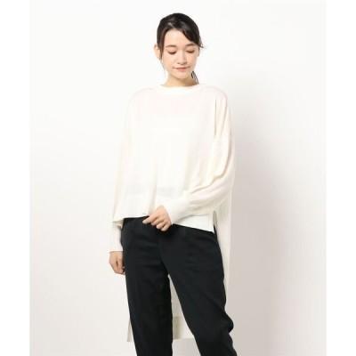 tシャツ Tシャツ MIDUMISOLID for Ladies クルーネックロングバックプルオーバー